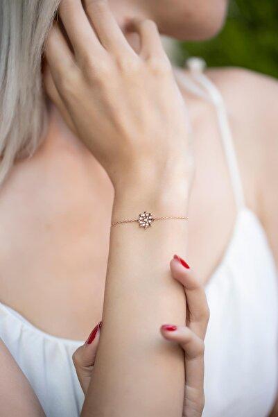 İzla Design Kar Tanesi Model Rose Kaplama Gümüş Bileklik