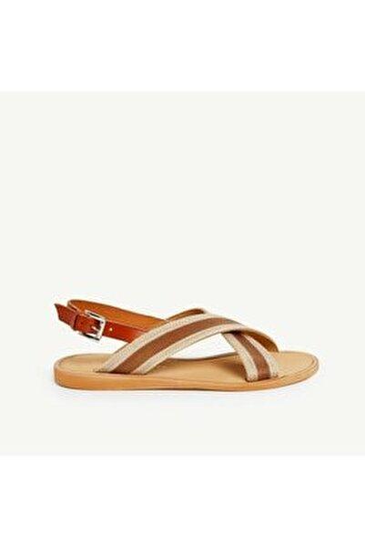 Kadın Taba Deri Detaylı Sandalet 9YKAY4091X