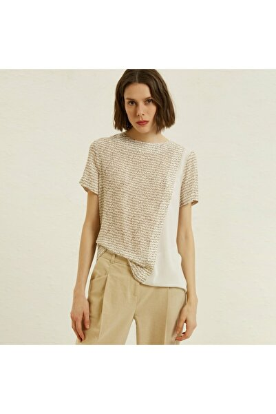 Yargıcı Kadın Vizon Kontrast Detaylı Bluz 9YKGM6138X