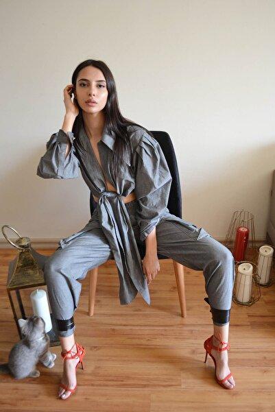 Eclectic Gri Geniş Cepli Pantolon