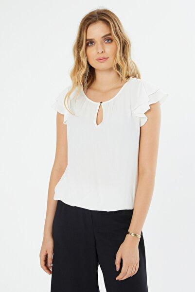 Naramaxx Kadın Beyaz Damla Yaka Fırfır Kollu Bluz 18Y111181330002-Beyaz