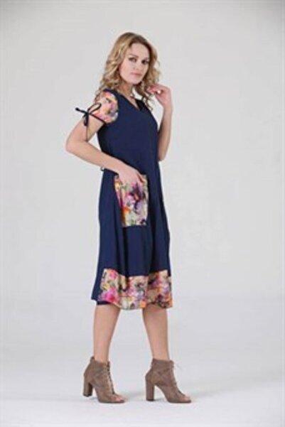 Kadın Mor Otantik Pamuk Elbise