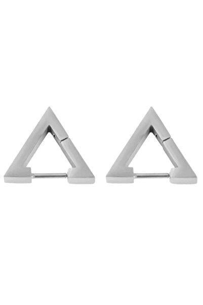 Kravatkolik Gümüş Renk Üçgen Unisex Çelik Küpe Ear01