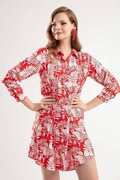 Y-London Kadın KIRMIZI Çiçek Desenli Düğmeli Kısa Elbise Y20S110-5792