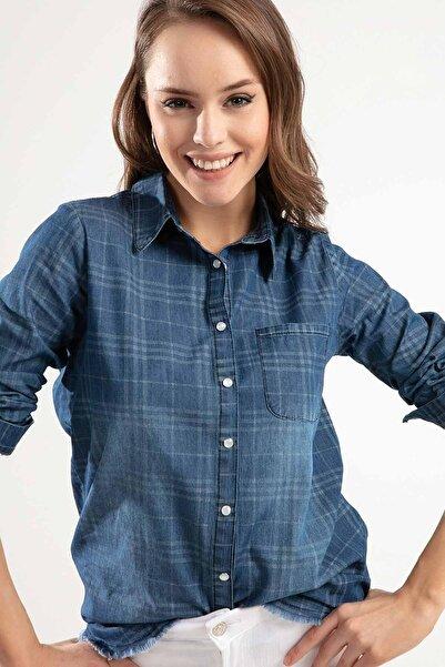 Kadın Denim Çıtçıtlı Cepli Püsküllü Uzun Kol Gömlek Y20S110-3808-3