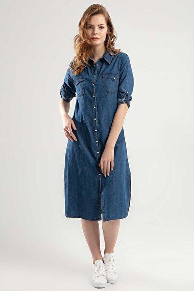 Y-London Kadın Denim Çıtçıtlı Katlanabilir Kol Uzun Elbise Y20S110-5603