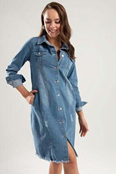 Kadın Açık Mavi Lazer Kesikli Cepli Uzun Kot Ceket Y20S110-0646
