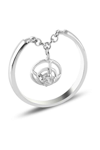 Silverella Gümüş Zirkon Taşlı Sallantılı Eklem Yüzüğü