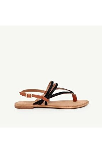Kadın Siyah Deri Sandalet 9YKAY4027X