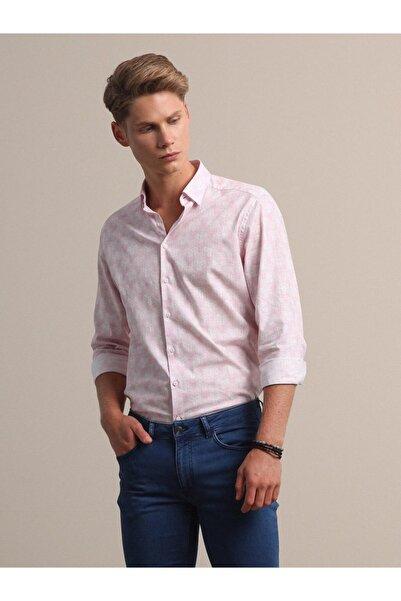 Kip Erkek Baskılı Dokuma Uzun Kollu Pembe Gömlek