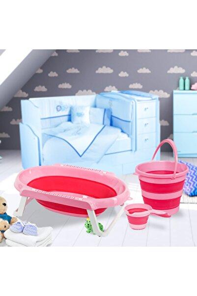 bimbambom Katlananır Bebek Küvet Seti Pembe Katlanabilir Bebek Banyo Seti