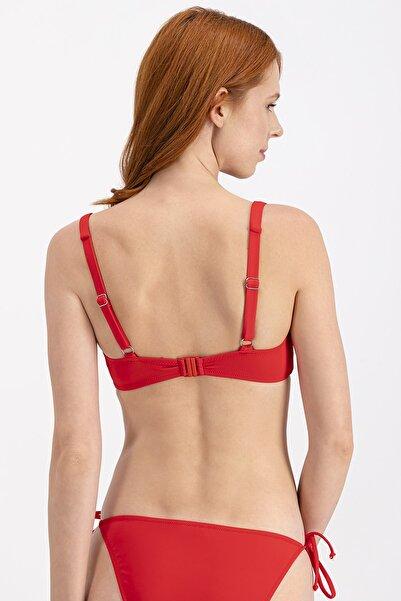 Kırmızı Kalın Askı Straplez Bikini Üstü