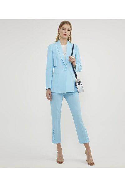 Aker Kadın Tek Düğmeli Mavi Ceket V52030117