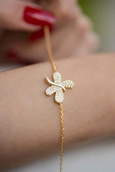İzla Design Kadın Kelebek Model Zirkon Taşlı Altın Kaplama Gümüş Bileklik İZLASLVR00307