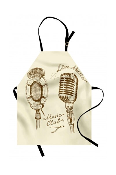 Orange Venue Müzik Mutfak Önlüğü Mikrofon Temalı Rengirenk