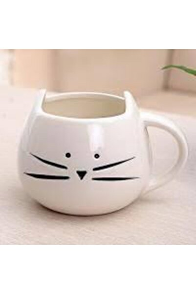 Köstebek Beyaz Kedi Bardak
