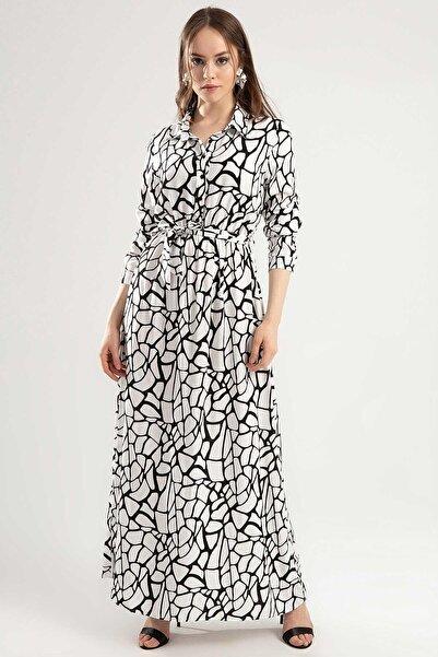 Y-London Kadın Beyaz Siyah Beli Lastikli Kuşaklı Yarı Düğmeli Uzun Kol Uzun Elbise Y20S110-1549