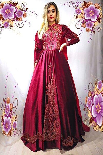 ARYAN Dantel Ve Işlemeli Bordo Kadife Bindallı Kına Kıyafeti