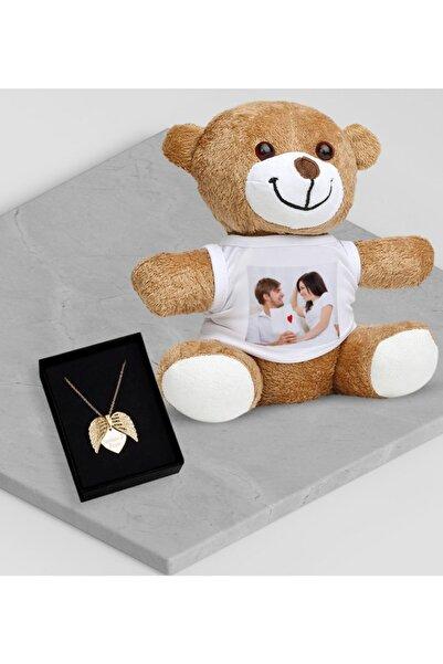 BK Kişiye Özel Fotoğraflı Sevgili Gold Melek Kanadı Kolye Peluş Ayıcık Set