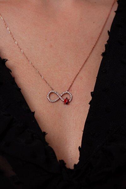Ninova Silver Sonsuzluk ve Uğur Böceği Model Rose Gümüş Kolye