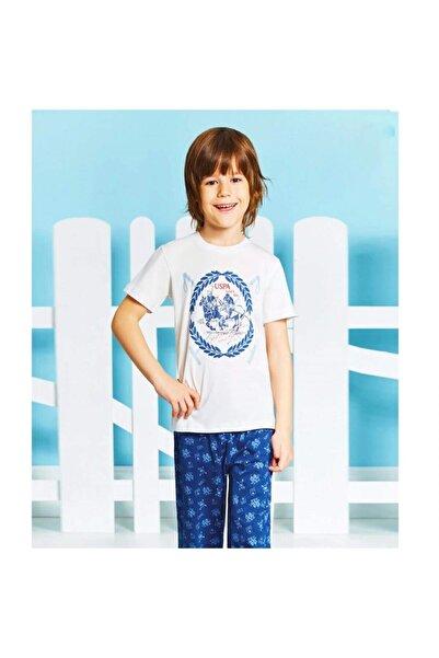 U.S. Polo Assn. Çocuk Beyaz Pamuklu 4-16 Yaş Pijama Takımı  U.s Polo 9188