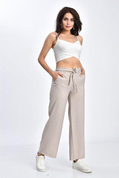 Modkofoni Kadın Taş Belden Lastikli Kuşaklı Bol Paça  Keten Pantolon