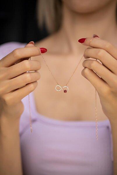İzla Design Kadın Sonsuzluk ve Uğur Böceği Model Rose Kaplama Gümüş Kolye İZLASLVR00488