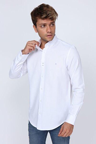 Mavi Dikiş Detaylı Slim Fit Beyaz Erkek Gömlek