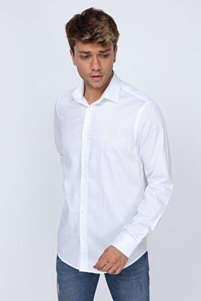 Kumaş Detaylı Slim Fit Beyaz Erkek Gömlek