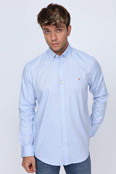 Turuncu Dikiş Detaylı Slim Fit Açık Mavi Erkek Gömlek