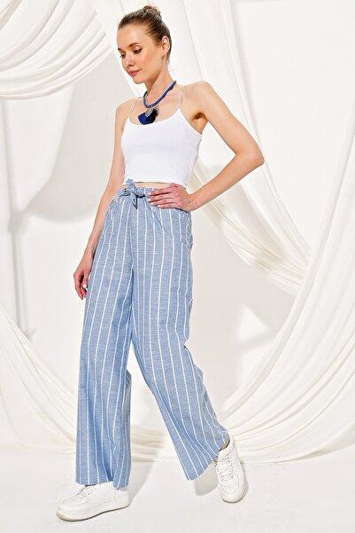 Trend Alaçatı Stili Kadın Mavi Bol Paça Çizgili Viscon Pantolon ALC-X4362