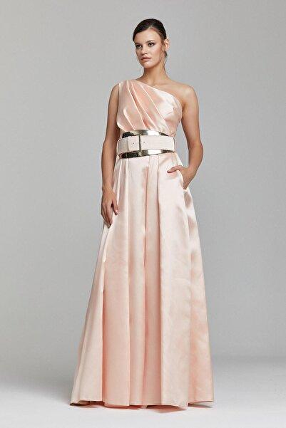 RENGIN Kadın Somon Rengi Beli Kalın Kemerli Elbise
