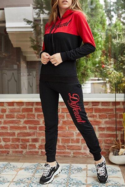 XHAN Kadın Kırmızı Baskılı Eşofman Takımı 9KXK6-42251-04