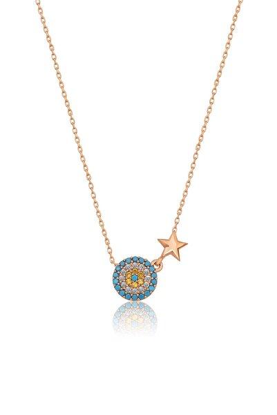 925 Ayar Rose Altın Yıldızlı Küçük Gümüş Nazar Kolye