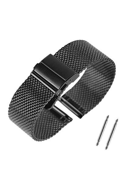 Trendburada 22mm Siyah Renk Kalın Hasır Metal Saat Kordonu Kayışı
