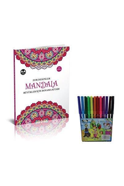 Akıllı Adam Yayınları Akıllı Adam Mandala Boyama Zor Desenler 12 Renk Tgb Keçeli Kalem Hediyeli