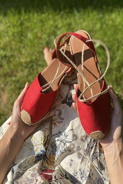 İnan Ayakkabı Kırmızı Süet Kadın Sandalet INA3015OGZ
