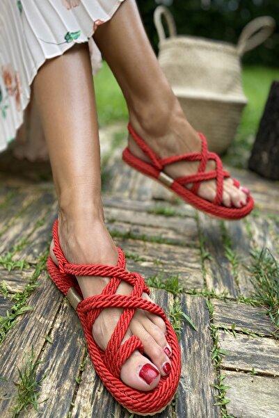 İnan Ayakkabı Kırmızı Kadın Sandalet INA5500KDR