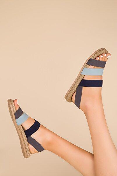 SOHO Grı-Mavi-Lacıvert Kadın Sandalet 15098