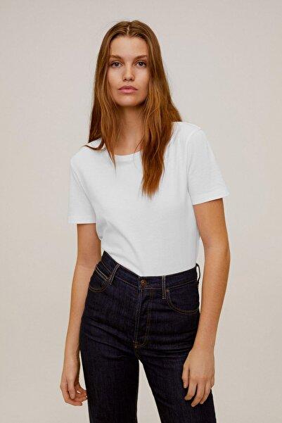 MANGO Woman Kadın Kırık Beyaz Gündelik Koton Tişört 77070534