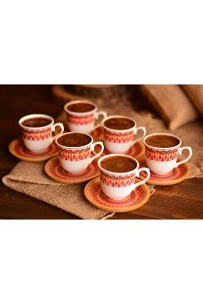 Kallavi 6 Kişilik Kahve Takımı Desen Altlıklı
