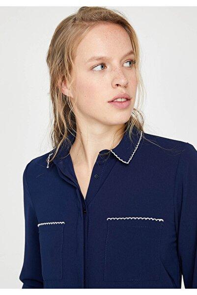 Koton Kadın Lacivert Gömlek 9YAK68784PW