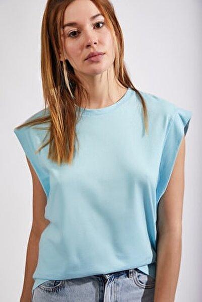 Kadın Turkuaz Kolsuz Basic Örme T-Shirt Hf00135