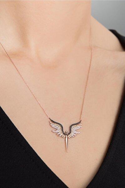 Kadın Melek Model Zirkon Taşlı 925 Ayar Gümüş Kolye PP2346