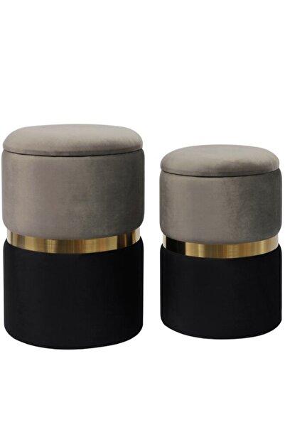 dekomobi Vizon Siyah Gold Puf Set