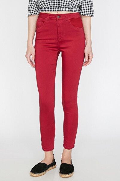 Koton Kadın Bordo Pantolon 9YAK43675MW