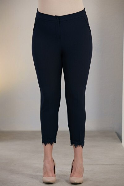 RMG Kadın Lacivert Paça Dantel Detaylı Büyük Beden Pantolon