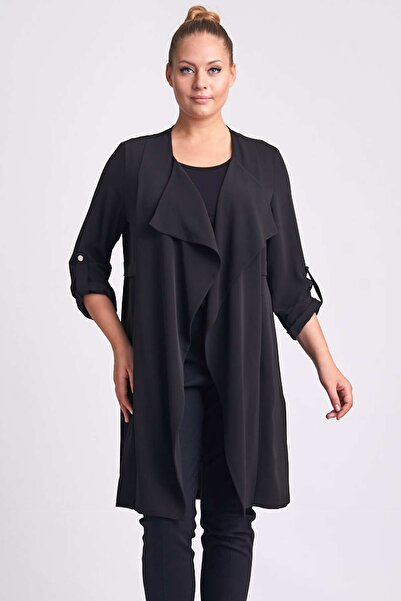 Ekol Kadın Siyah Uzun Ceket