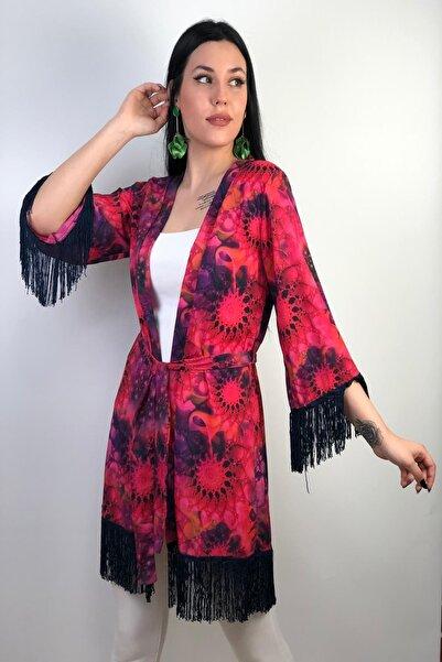 Yeni Sezon Püskül Detaylı Kendinden Kemerli Bayan Kimono