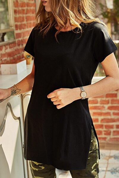 Kadın Siyah Yırtmaçlı Bisiklet Yaka T-shirt 9YXK1-41909-02